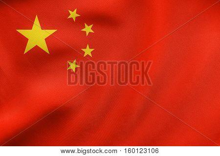 Flag Of China Waving, Real Fabric Texture