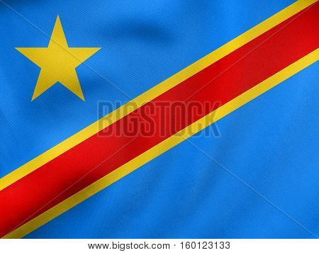 Flag Of Dr Congo Waving, Real Fabric Texture