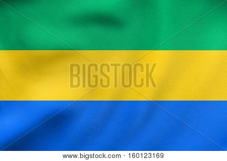 Flag Of Gabon Waving, Real Fabric Texture