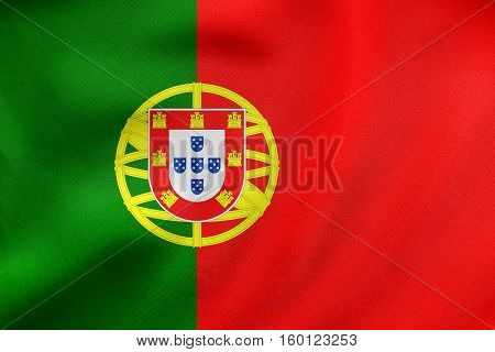 Flag Of Portugal Waving, Real Fabric Texture