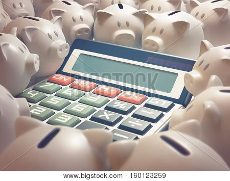 Solar calculator amid several piggy banks. 3D illustration business and finance concept. Your text on the display.
