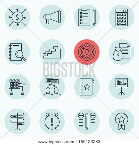 Set Of 16 Project Management Icons. Can Be Used For Web, Mobile, UI And Infographic Design. Includes Elements Such As Brainstorming, Solution, Statistics And More.