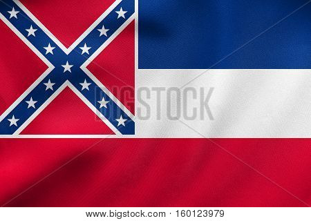 Flag Of Mississippi Waving, Real Fabric Texture