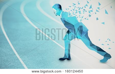 Side view of abstract polygonal businessman with pattern getting ready to run on blue running track. Competition concept