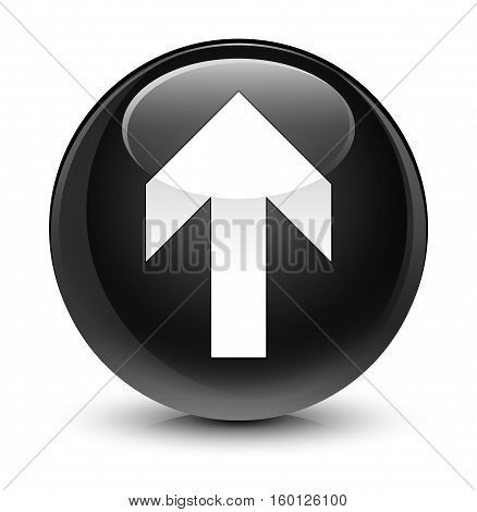 Upload Arrow Icon Glassy Black Round Button