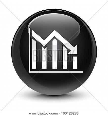 Statistics Down Icon Glassy Black Round Button
