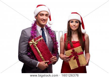 Pair celebrating christmas in the office isolated on white