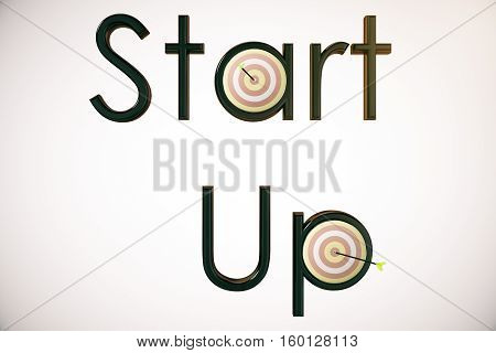 Abstract 'Start up' text with dartboards and arrows on light background. 3D Rendering. Startup and aiming concept