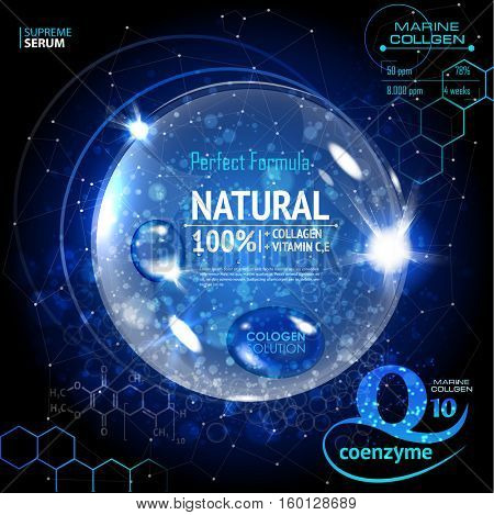 Coenzyme Q10. Cosmetic ads template. Supreme collagen oil drop essence with DNA helix. Premium shining serum droplet. Vector illustration
