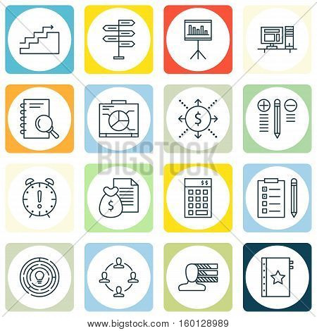 Set Of 16 Project Management Icons. Can Be Used For Web, Mobile, UI And Infographic Design. Includes Elements Such As Office, Brainstorm, Personal And More.
