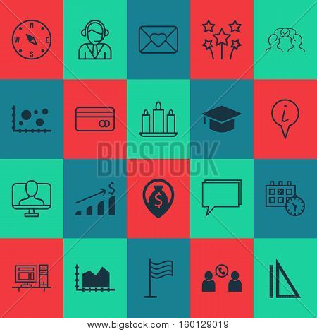 Set Of 20 Universal Editable Icons. Can Be Used For Web, Mobile And App Design. Includes Elements Such As Graduation, Sequence Graphics, Measurement And More.