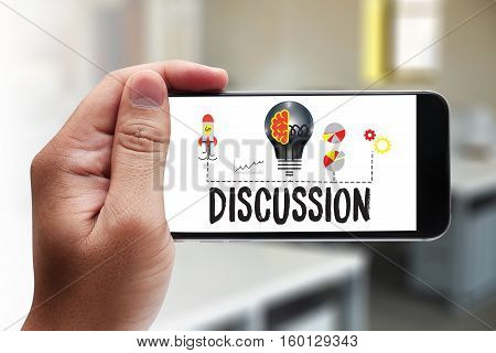 Discussion  To Making Great Decisions Gesturing And Discussing Something