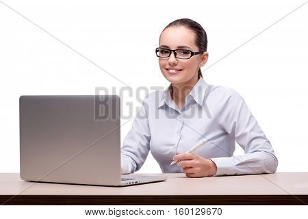 Businesswoman working at her desk on white background
