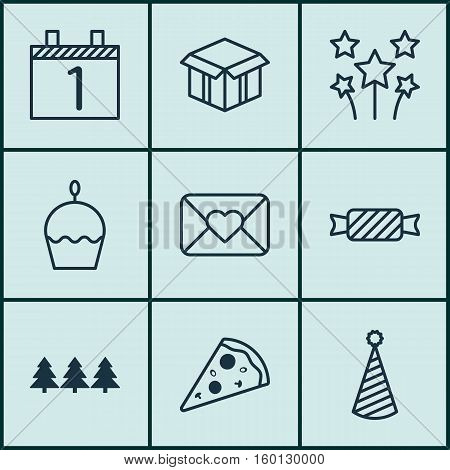 Set Of 9 Happy New Year Icons. Can Be Used For Web, Mobile, UI And Infographic Design. Includes Elements Such As Festive, Envelope, Box And More.