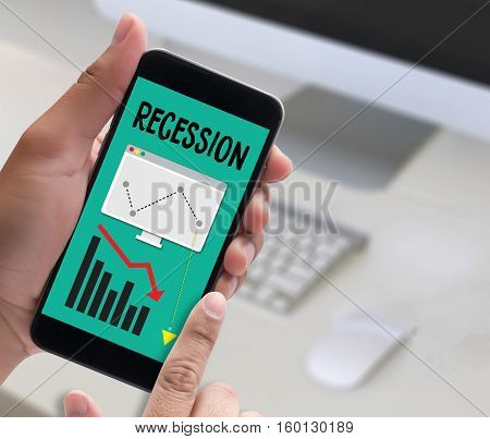 Recession Financial Risk Failure Down , Business Graph With Arrows Tending Recession , Recession, Gl