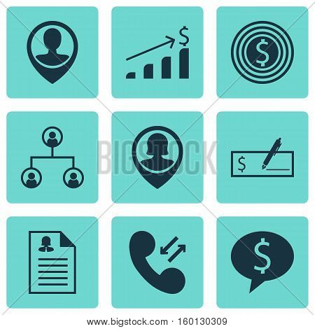 Set Of 9 Human Resources Icons. Can Be Used For Web, Mobile, UI And Infographic Design. Includes Elements Such As Check, Money, User And More.
