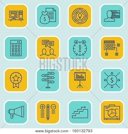 Set Of 16 Project Management Icons. Can Be Used For Web, Mobile, UI And Infographic Design. Includes Elements Such As Date, Time, Cash And More.