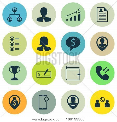 Set Of 16 Hr Icons. Can Be Used For Web, Mobile, UI And Infographic Design. Includes Elements Such As Resume, Cellular, Money And More.