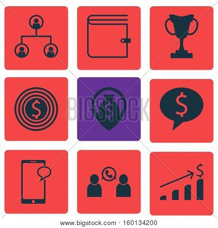 Set Of 9 Management Icons. Can Be Used For Web, Mobile, UI And Infographic Design. Includes Elements Such As Cup, Dollar, Chat And More.