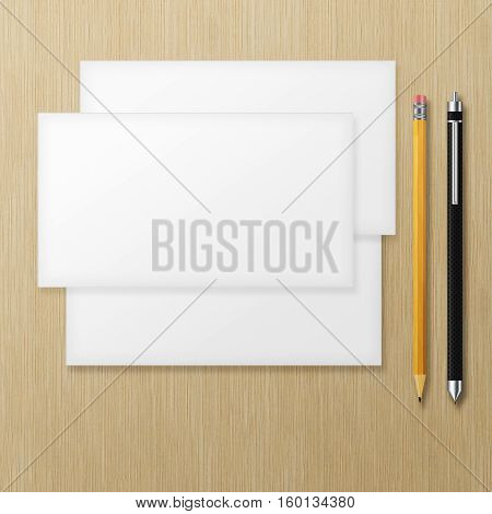 Set of blank envelopes with yellow pencil and pen on wooden background. 3D illustration.