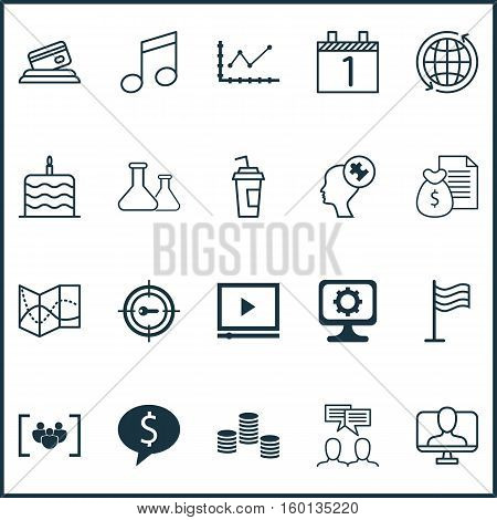 Set Of 20 Universal Editable Icons. Can Be Used For Web, Mobile And App Design. Includes Elements Such As Changes Graph, Business Deal, Celebration Cake And More.