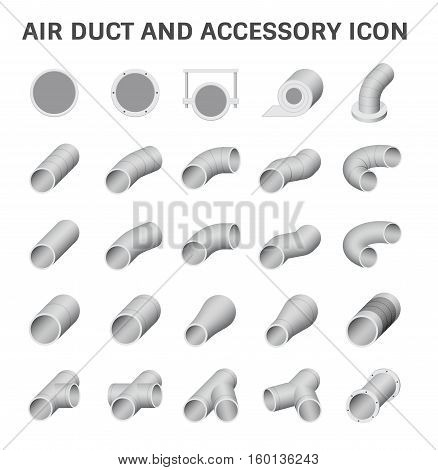 Vector icon of air duct pipe fitting for air conditioner and HVAC system gray metallic color.
