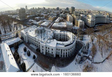 Kiev winter, Verkhovna Rada, aerial view,