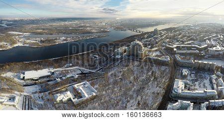 Kiev winter, Mariinsky park, aerial view,