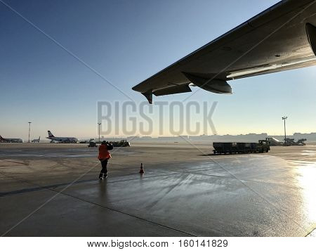 STUTTGART - DECEMBER 5: Airport operations at Stuttgart International Airport on December 5, 2016 in Stuttgart, Germany.
