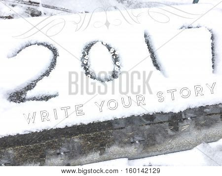 Inspiring Happy New Year resolution greeting card 2017 vintage lettering in holiday season snow with words
