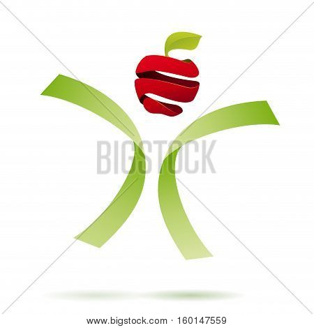 Vector sign Greengrocer. Slow food concept, abstract shapes