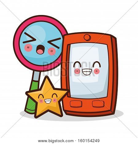 Kawaii smartphone and lupe cartoon icon. Device technology and gadget theme. Isolated design. Vector illustration