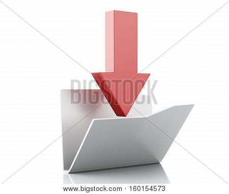 3D renderer image. Download folder. Date transferring concept. Isolated white background.