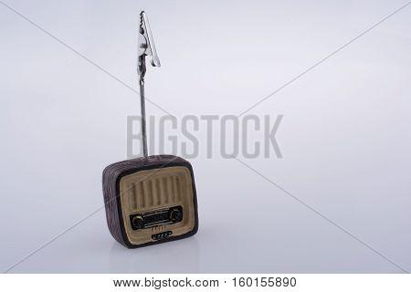 Retro Syled Tiny Radio Model On White Background