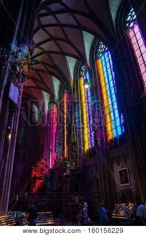 VIENNA AUSTRIA - SEPTEMBER 6 2012: St. Stephen's Cathedral (Stephansdom) interior