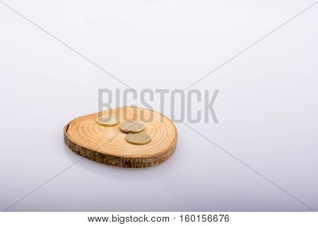 Coins On A Wood Log Cut In Round Thin Pieces On White Background