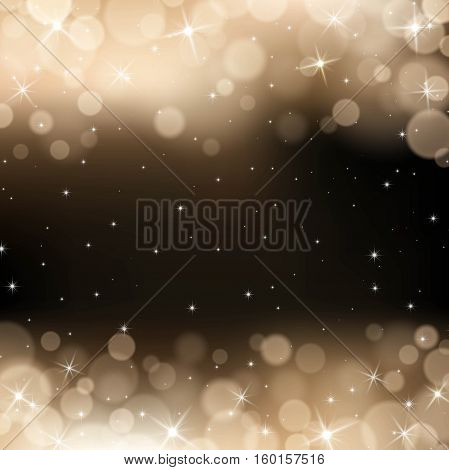 Vector gold bokeh background. Festive defocused lights.