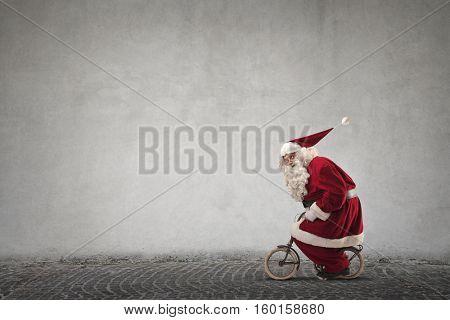 Santa changed the sleigh to a little bike