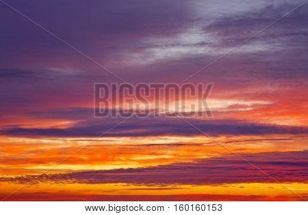 Beautiful apocalyptic fiery sunset sky as background.