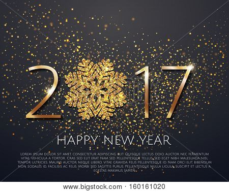 Sparkling Golden Snowflake With Glitter Texture For Christmas, New Year 2017 Greeting Card. Vector B