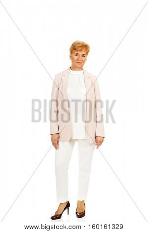 Smile elegant senior blonde woman