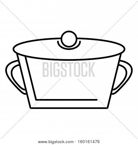 pot steel soup hot cooking design outline vector illustration eps 10