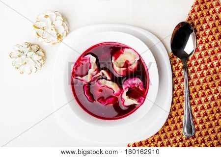 Red borsch with dumplings traditional Polish Christmas Eve dish
