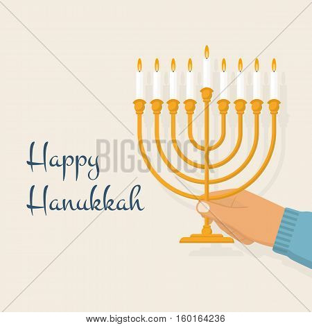 Hanukkah menorah. Happy jewish holiday hanukkah, concept. Man jew holding in hand menorah with candles. Vector illustration flat design. Isolated on white background. Religious celebration.