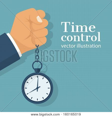 Pocket watch on chain in the hands of men. Time Manager, control. Vector illustration flat design. Isolated on background. Vintage classic clock. Organization of the process.