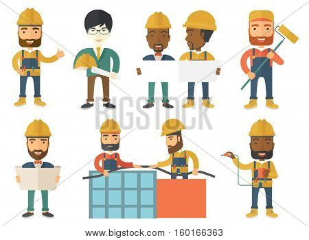 Engineer in helmet watching a blueprint. An adult engineer with engineer blueprint. An engineer in hard hat holding a blueprint. Set of vector flat design illustrations isolated on white background.
