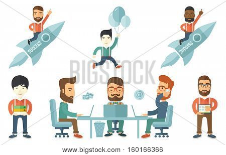Businessman flying on the business start up rocket. Businessman waving on business start up rocket. Business start up concept. Set of vector flat design illustrations isolated on white background.