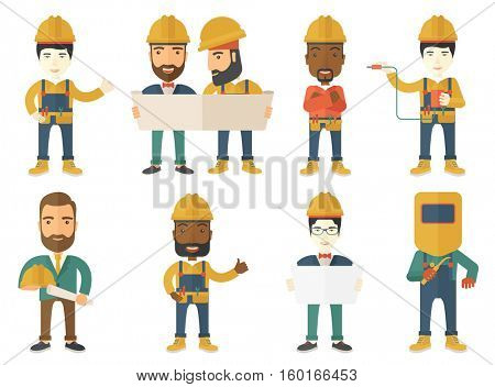 Young cheerful builder in hard hat giving thumb up. Smiling builder with thumb up. Builder in overalls with belt with tools. Set of vector flat design illustrations isolated on white background.