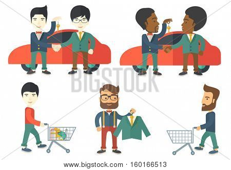 Car salesman giving car key to a new happy owner on the background of car. Young man buying car and shaking hand to a salesman. Set of vector flat design illustrations isolated on white background.