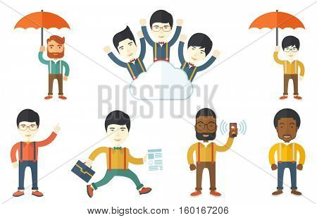Businessman using mobile phone. Businessman holding mobile phone in hand. Cheerful young businessman chatting on mobile phone. Set of vector flat design illustrations isolated on white background.